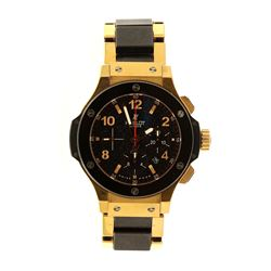 WATCH: [1] 18k yell gold, titanium, and ceramic Hublot Big Bang watch; 44mm case, black dial with 3