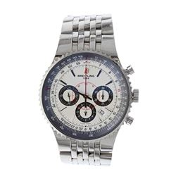 WATCH: [1] Stainless Steel Breitling Montbrillant Chronograph wristwatch; Silver-tone dial with blac