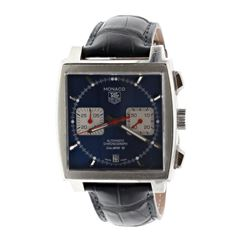 WATCH: [1] Stainless Steel Tag Heuer Monaco Calibre 12 wristwatch; Blue dial, luminescent hands and