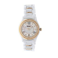 WATCH: [1] S/STEEL Lady's Ebel  X1 date watch, diamond dial, diamond bezel ceramic bracelet w/18KYG