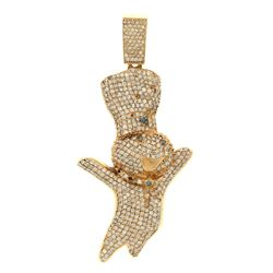 PENDANT: [1] 14kt yellow gold ''DoughBoy'' motif diamond pendant; pendant set with round brilliant c