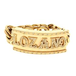 BRACELET: (1) 10KYG solid gold bracelet, name plate; LOZANO, 80.0mm x 30.0mm, 120 RBC diamonds, 2.50