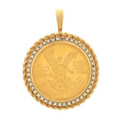 PENDANT: (1) 14KYG bezel rope frame w/50 Peso; gold coin dated 1945, 1/2 Troy oz,  44 rbc diamonds,
