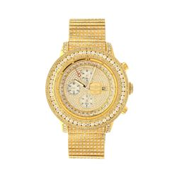 WATCH: St.steel Breitling Super Avenger 300M watch with aftermarket diamonds; gold tone dial with 3