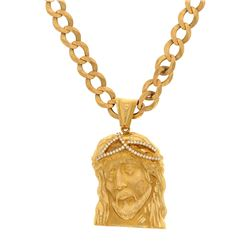 NECKLACE: [1] 14k yellow gold Jesus necklace; 25 inches long; (44) round brilliant cut diamonds, 1.6