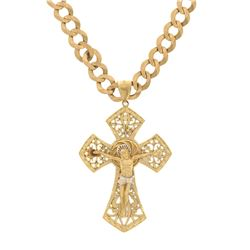 NECKLACE: [1] 14k yellow and white gold crucifix necklace; 24 inch chain with 3.5 inch pendant; 84.1