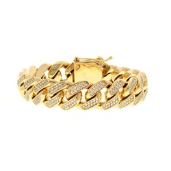 BRACELET: [1] 10kt yellow gold diamond bracelet set with (478) round brilliant cut diamonds, estimat