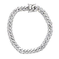 NECKLACE: [1] 10kt white gold Cuban link necklace; 0.5'' wide; 16'' long; 271.9 grams