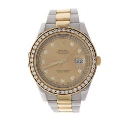WATCH: [1] 18kt yellow gold and stainless steel Rolex Oyster Perpetual DateJust wristwatch; Champagn