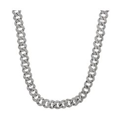 CHAIN: [1] 10k white gold curb chain, 32 inches long; (1758) round brilliant cut diamonds, 1.6mm-1.7