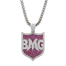"NECKLACE: [1] 10k white gold necklace with ""BMG"" pendant; 26 inches long; (263) round brilliant cut"