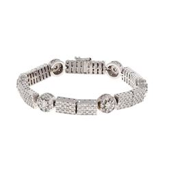 BRACELET: [1] 10k white gold bracelet, 7.50 inches long; (204) round brilliant cut diamonds, 2.0mm-3