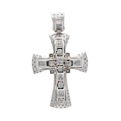 PENDANT: [1] 10k white gold cross pendant; (124) princess cut diamonds, 1.5mm-1.6mm = an estimated 2