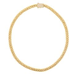 CHAIN: [1] 18ky Cuban link chain, 28.50 inches long; (90) round brilliant cut diamonds, 1.0mm-1.9mm