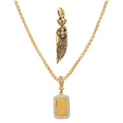 NECKLACE: [1] 14kt yellow gold NightRider wheat link necklace; 25.5 inches long; 56.3 grams. PENDANT