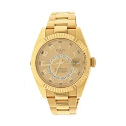 ROLEX: [1] 18k yellow gold Rolex Sky-Dweller watch, 42mm case, gold dial with 1 sub dial, 18k fluted