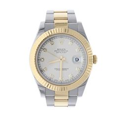 ROLEX: [1] Stainless steel & 18k yellow gold Rolex DateJust II watch; 41mm case, cream dial with dia