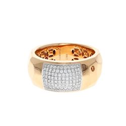 RING: (1) 18KRG  ring Roberto Coin hammered texture, 11.0mm width, 88 diamonds, 0.60 cts. TWA. VS1/G