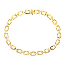 NECKLACE: (1) 18KWYG Roberto Coin necklace, 18 inch,13.0mm width, hidden clasp double button release