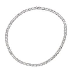 NECKLACE: (1) 18KWG Roberto Coin necklace, hidden clasp, set w/round brilliant, princess cut diamond