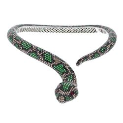 NECKLACE: (1) 18KWG Roberto Coin cobra necklace ''Year of The Snake'',  2 round rubies on eyes, blac