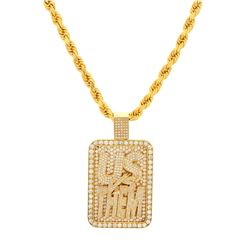 "NECKLACE: 10k yellow gold ""Us Vs Them"" necklace; 26 inches long; approximately (1138) round brillian"