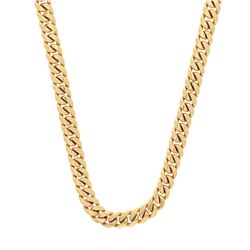 NECKLACE: [1] 14kt yellow gold solid Cuban link necklace, 0.25'' wide, 28'' long; 250.5 grams