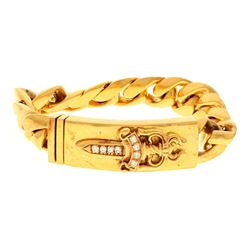 "BRACELET: [1] 22kt yellow gold ""Chrome Hearts 1995"" curb link ID type bracelet; raised dagger set wi"