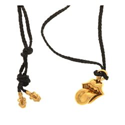 "NECKLACE & PENDANT: [1] Adjustable black braded rope necklace set with (1) ""Chrome Hearts"" 22kt yell"