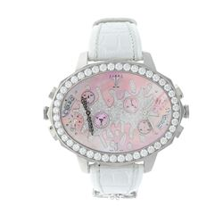 WATCH: [1] Stainless steel Tiret Second Chance quartz wristwatch; Mother of pearl dial with pave set