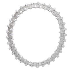 NECKLACE: [1] 18kt white gold diamond collar necklace; Sixty six pear shaped stations of which thirt