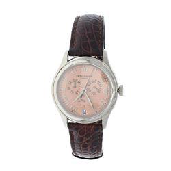 WATCH: [1] 18kt white gold Patek Philippe Annual Calendar automatic wristwatch, Ref. 5035; Salmon di