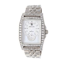 "WATCH: [1] 18kt white gold Breitling Bentley ""Flying B"" limited edition diamond wristwatch; 18kt cas"