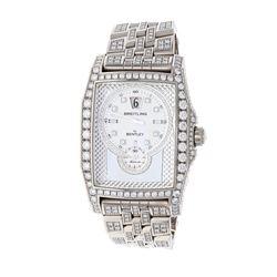 "WATCH: [1] 18kt white gold Breitling Bentley ""Flying B"" limited edition diamond wristwatch; 18kt cas"