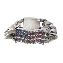 "BRACELET: [1] Sterling silver Chrome Hearts curb link ""Flag"" bracelet set with round brilliant cut d"