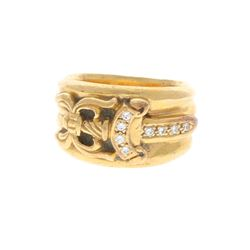 "RING: [1] 22kt yellow gold Chrome Hearts ""1992/9"" Dagger ring with (8) pave set round brilliant cut"