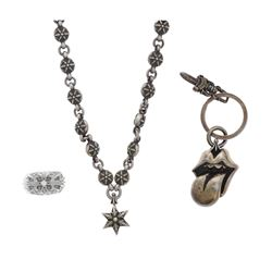 """NECKLACE: [1] Sterling silver Chrome Hearts """"1991"""" silver link necklace set with round stations with"""