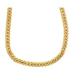 NECKLACE: [1] Men's 10ky (stamped) curb necklace; 34inches long, 11.11mm wide, box clasp, 2 safeties