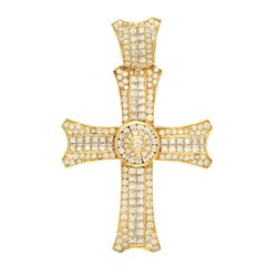 PENDANT: [1] Men's 18ky (tested) cross pendant; (177) rb diamonds, 1.8-4.0mm=est. 5.40cttw, Good/H-I