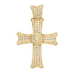 PENDANT: [1] Men's 18ky (tested) cross pendant; (177) rb diamonds, 1.8-4.0mm=est. 5.40cttw, Good/H-I