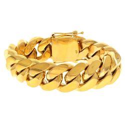 BRACELET: [1] Men's 10ky (stamped) bracelet; 9inches long, 20.83mm wide, box clasp, 2 safeties; 244.