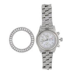 WATCH: [1] Men's stainless steel Breitling watch; Appx (945) rb diamonds 1.2-4.2mm=est. 20.71cttw, G