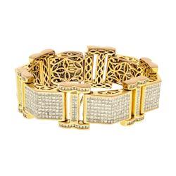 BRACELET: [1] Men's 14ky (tested) bracelet; (774) prn diamonds, 1.5-1.9mm =est. 32.90cttw, Good/I-J/