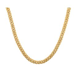 NECKLACE: Men's 10ky (stamped) curb necklace; 32inches long, 8.79mm wide, box clasp, 2 safeties; 149