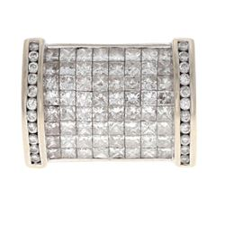 RING: [1] Men's 14kw (stamped) ring; (64) prn diamonds, 2.3mm x 2.5mm=est. 5.12cttw, Good/H-I/SI1-SI
