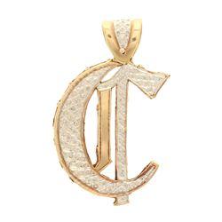 PENDANT: [1] 10k yellow and white gold ''C'' pendant; (97) round brilliant cut diamonds, 1.4mm-1.7mm