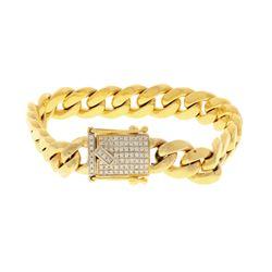 BRACELET: [1] 14k yellow gold bracelet, 8.50 inches long; (77) round brilliant cut diamonds, 1.3mm-1