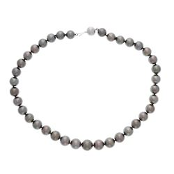 NECKLACE: [1] 18kt white gold Tahitian graduated pearl necklace set with (37) fine Tahitian pearls 9