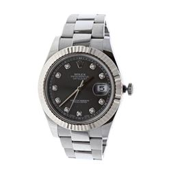WATCH: [1] Stainless steel Rolex DateJust II Oyster Perpetual wristwatch; Rhodium dial with diamond