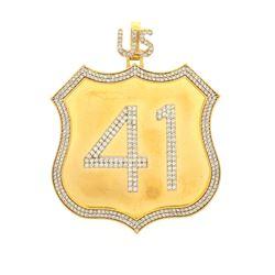 PENDANT: [1] 10ky tested ''US 41'' pendant; (423) rb diamonds, 1.5mm-2.0mm =est. 7.75cttw, V.Good/H-
